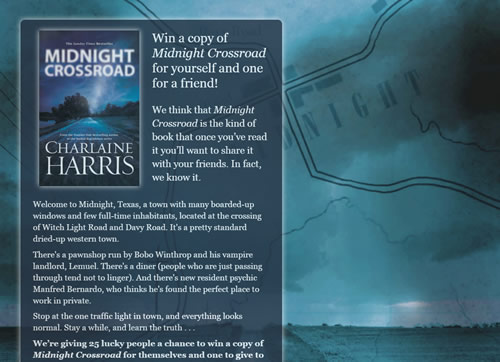 Landing page for Charlaine Harris